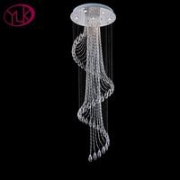 Youlaike Spiral Modern Crystal Chandelier For Living Room Long Flush Mount Chandeliers Lighting Cristal Lustre LED
