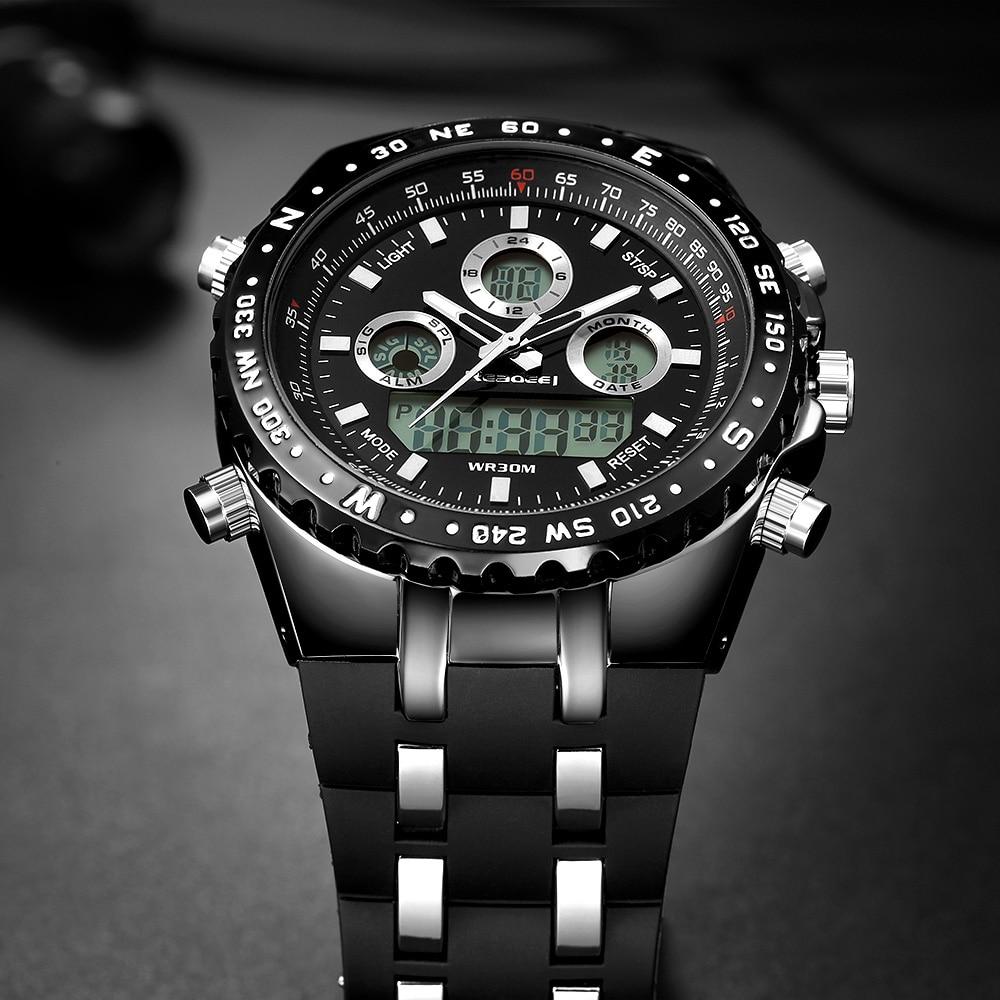 2018 최고의 브랜드 럭셔리 패션 크로노 그래프 스포츠 남성 시계 led 디지털 쿼츠 시계 reloj hombre 남성 시계 relogio masculino-에서수정 시계부터 시계 의  그룹 3