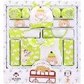 16 Шт. 100% Хлопок Новорожденного 2016 Мода Детские Новорожденных Девочек Наборы одежда для Новорожденных Baby Набор Зеленый Желтый Розовый Для 0-12 месяц