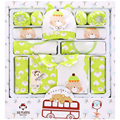 16 Piece 100% Cotton Newborn 2016 Fashion Baby Baby Girls Clothing Sets Baby Set Green Yellow Pink For 0- 12 Month