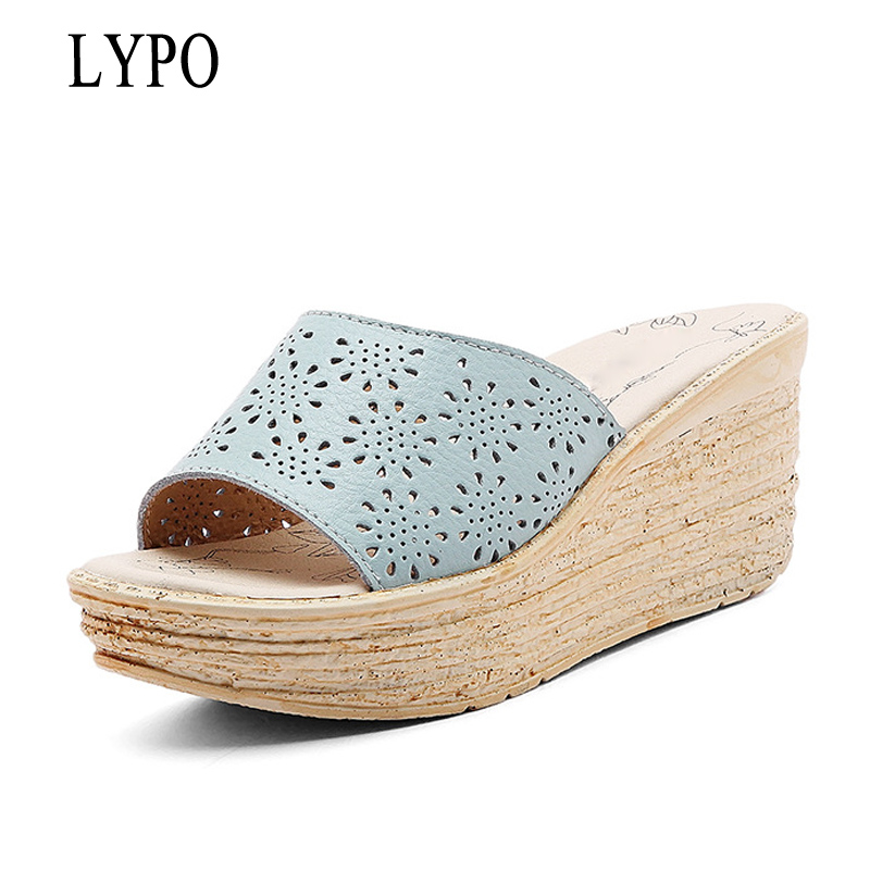 LYPO Women Mules Clog Shoes Leather Slip on Peep Toe Ladies Cork Wedge Sandals Female Platform Sandals Shoes Flats 2017 Summer 2017 new fashion women summer flats pointed toe pink ladies slip on sandals ballet flats retro shoes leather high quality