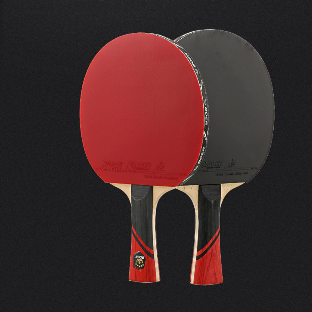 Rubber Table Tennis Paddle Professional Pingpong Racket Straight/horizontal Grip Table Tennis Racket With Case
