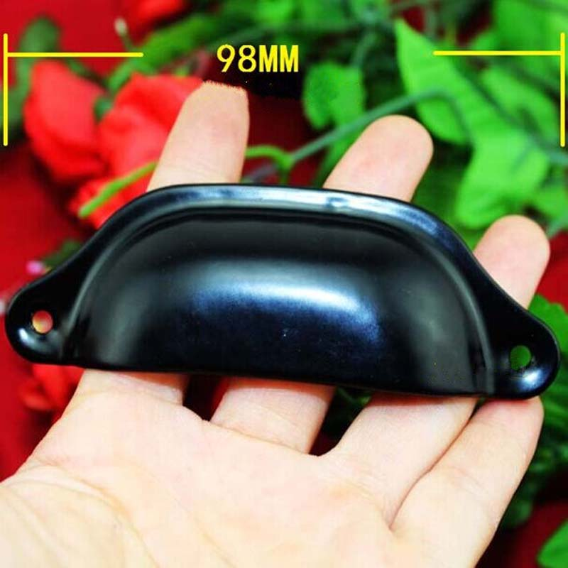 High quality cheaper handles Retro Black Drawer Pull Dresser  Handle Shell Cup Cabinet Knob Pull Cupboard steel handle