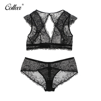 COLLEER 2017 Hot Sale Luxury Lace Sexy Wire Free Hollow Bra Sets Underwear Floral Embroidery Lace