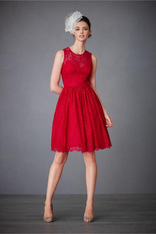 Red Lace Short Bridesmaid Dresses Vestdio De Noiva Curto 2015 Custom ...