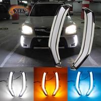 OKEEN Car Styling For Subaru Forester 2013 2014 2015 LED DRL Daytime Running Light Daylight Waterproof Yellow Turn Signal Lamp