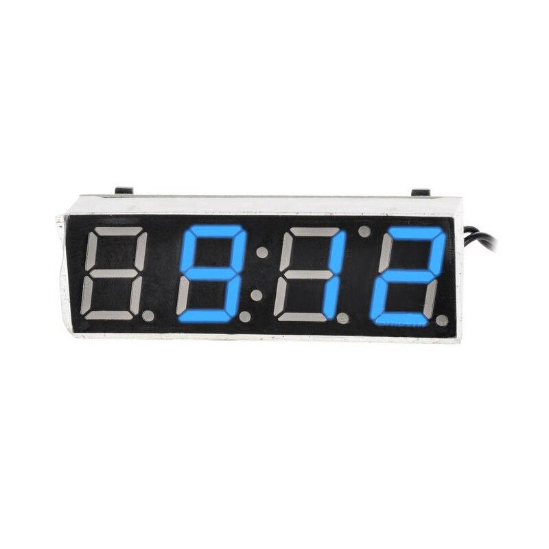 Car Electric Clock Vehicle Digital Timer Luminous LED Clock Thermometer Voltmeter LED Display Digital Clock Blue Green Red Light sj acv056fb 0 56 3 digital led blue light display 2 line ac voltmeter black 12 380v