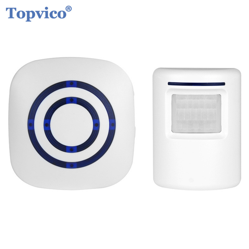 Topvico Entry Door Alert Wireless PIR Infrared Motion Sensor Detector Alarm + Doorbell Anti-theft Home Alarm Systems Security qiachip 2017 brand wireless digital doorbell with pir motion sensor infrared detector induction alarm door bell button home diy