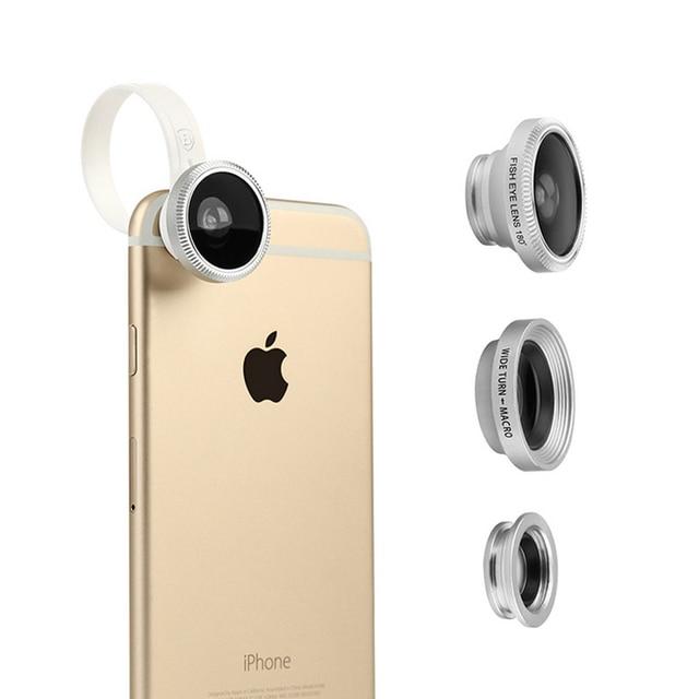 De baseus 3 en 1 clip-on lente ojo de pez + gran angular + marco de la lente para apple samsung sony lg htc etc smartphones