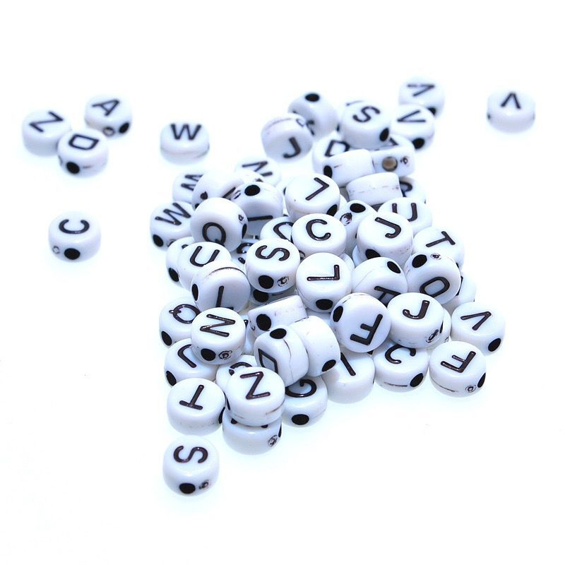 200 Pcs/lot 7mm Random Letter Charm Acrylic Spacer Beads Toys Wooden Beads For Children Smooth Jewelry Making DIY Toys