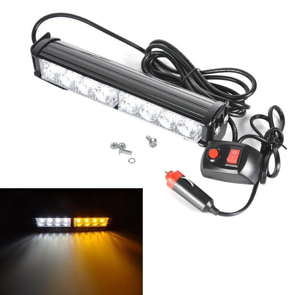 CYAN SOIL BAY 8 LED Car Emergency Warn Traffic Advisor Strobe Light Bar Grill Amber White 12V Lamp 8LED Flash 9inch 23CM Yellow