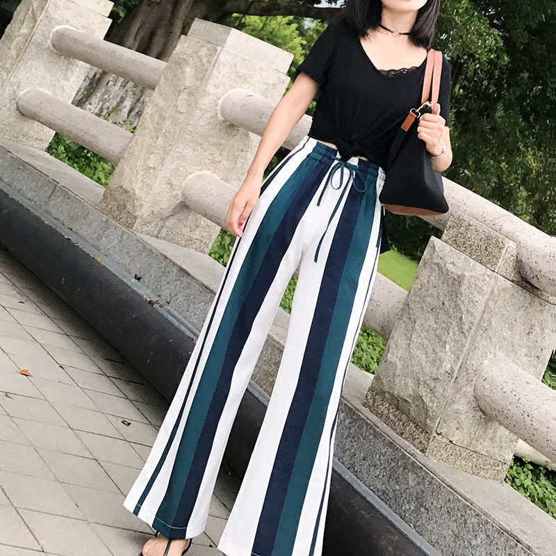 Fashion Women   Wide     Leg     Pants   summer new elastic waist casual   pants   female loose striped   wide     leg   trousers chiffon Casual   Pants