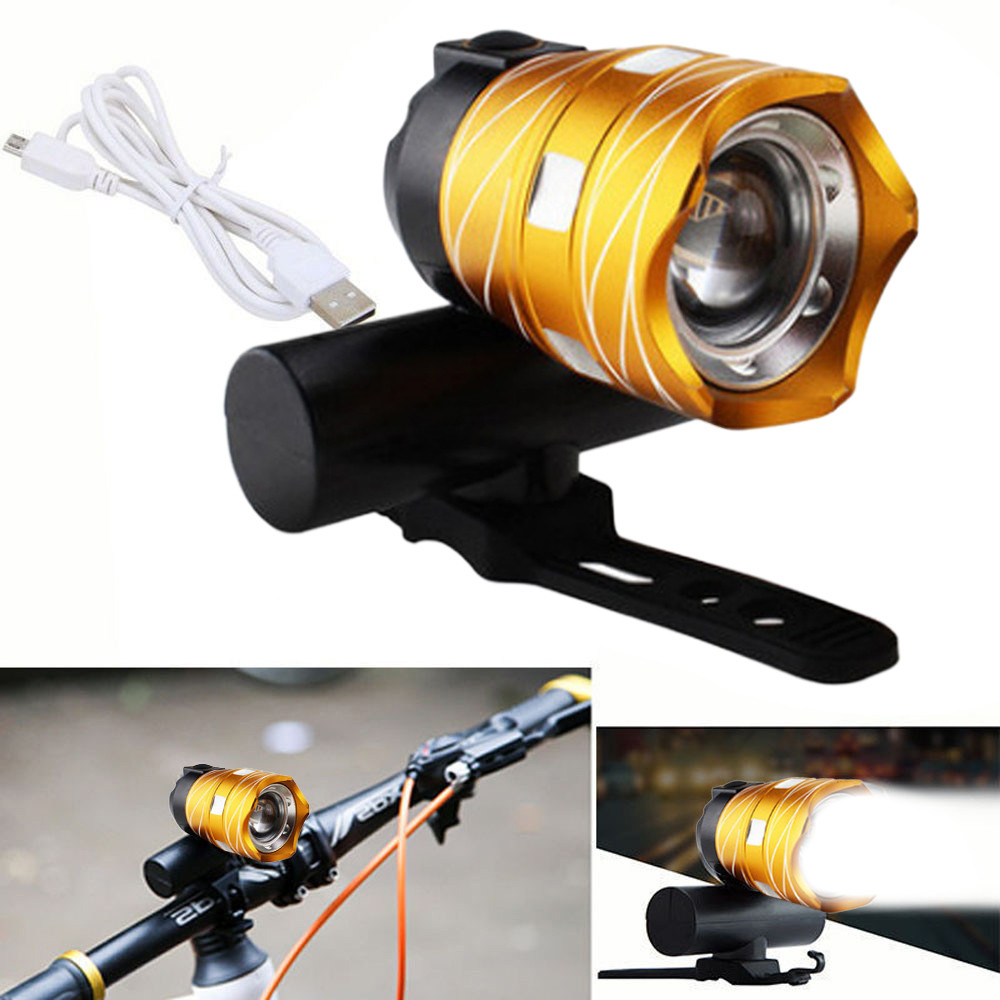 USB Rechargeable XML T6 LED Bicycle Bike Light Front Cycling Light Head Lamp New Gold Black Bright Bicicleta Bike Lights 30000lm 14x xml t6 led head front bycicle lights bike light head light headlamp battery pack tail light