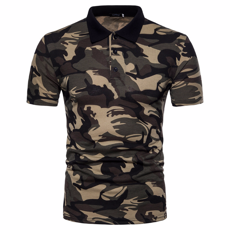 Men's Top Regular Gradient Print Breathable Cotton Short Sleeve 2018 Spring And Summer New Casual Camouflage Polo Shirt 31