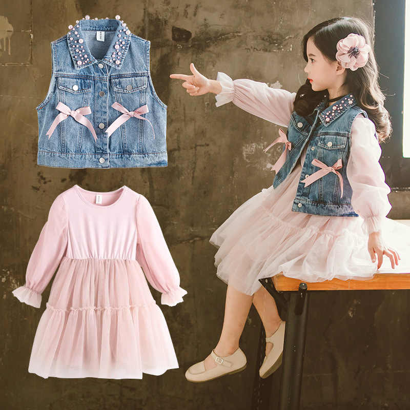 New Toddler Girls Clothing Sets 2019 Spring Children Clothing Top Pear Denim Vest+Girls Dress Set Kids Clothes Size 2-13 Years