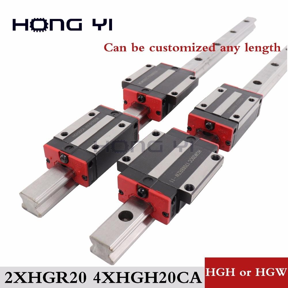 20mm 2 pcs HGR20 trilho linear cnc peças e 4 pcs HGW20CC HGH20CA ou HGW20CC guia linear trilhos bloco hgh20 frete grátis