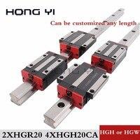 20mm 2 peças cnc trilho linear hgr20 e 4 peças hgh20ca ou hgw20cc guia linear trilhos bloco hgw20cc hgh20 frete grátis