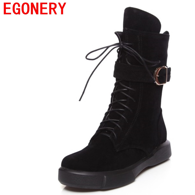 EGONERY new style woman boots laced up ladies round toe casual shoes low heel mid calf winter outside walking boots plus size 2016 new autumn winter man casual shoes sport male leisure chaussure laced up basket shoes for adults black