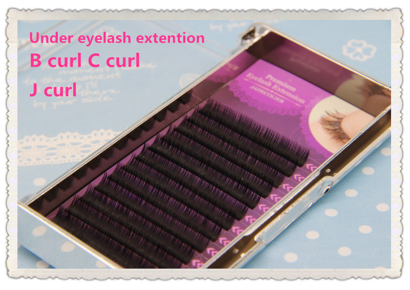 Free shipping 1 tray High quality B Curl C Curl 5mm 6mm 7mm natural long under eyelash extention makeup lower lashes caterham 7 csr