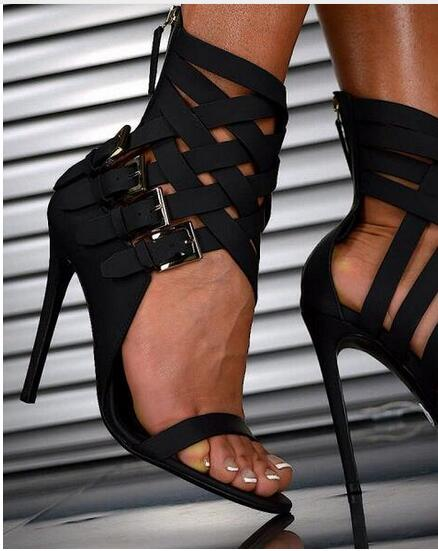2017 Summer Hot Selling Sexy Black Leather Ankle Cross Strap Buckle High Heel Sandals Cage Women Dress Shoes Gladiator Sandals hot selling denim blue ankle strap buckle high heel sandals cut out thick heel gladiator sandals for women summer dress shoes