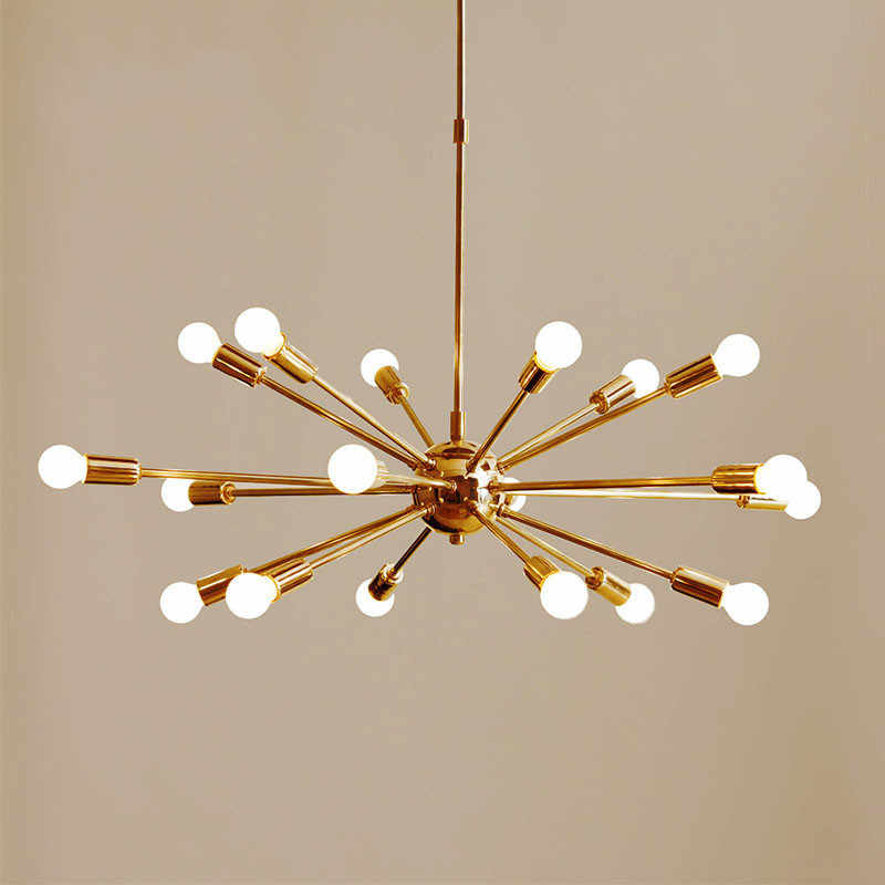 Mid Century 18 Arms Brass Sputnik Chandeliers Modern Gold Ceiling hanging Light For Living Room Home Decor Dinning Room AL382