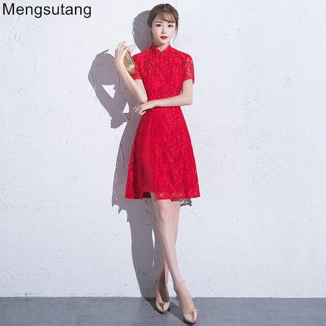 Robe De Soiree 2018 red short scalloped collar summer vintage ...