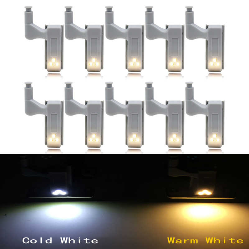 10pcs/Set 0.25W Kitchen Bedroom Living Room Cabinet Cupboard Closet Wardrobe Hinge LED Light DIY Night Lamp Cold/Warm White