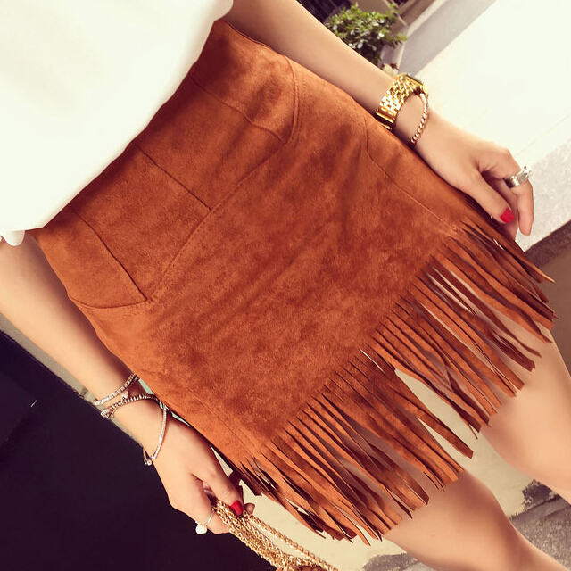 708fb5d0cb0e2 Women s autumn new retro national ethnic style faux suede tassel fringe  bodycon short skirt plus size SML bohemia skirt