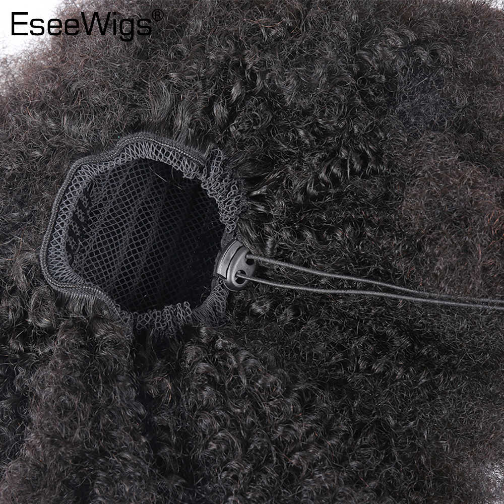Eseewigs 4B 4C Afro Kinky Curly Human Hair Ponytail For Black Women Natural Color Remy Hair 1 Piece Clip In Drawstring Ponytails