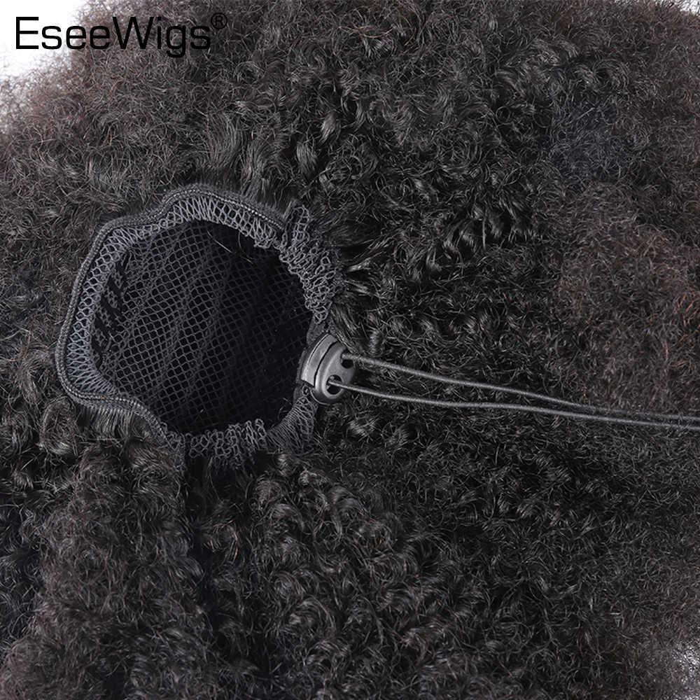 Eseewigs 4B 4C афро кудрявые человеческие волосы конский хвост для черных женщин натуральные цветные волосы Реми 1 шт. зажим накладные волосы на резинке