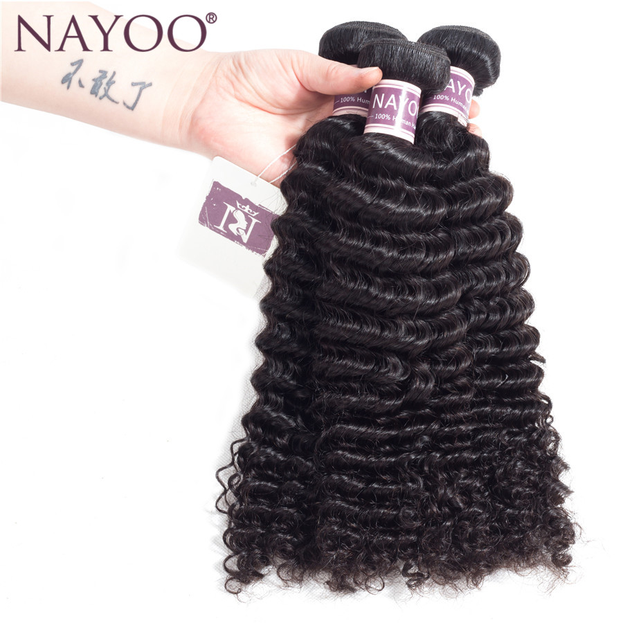 NAYOO Peruvian Kinky Curly Hair Double Weft 100% Human Hair Weave Bundles 8 to 26 Inch Natural Color Non Remy Hair Extensions