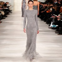 Runway Fashion Sheath Grey Lace Long Sleeve Modest Evening Dresses Arabic Style Evening Gown Special Occasion