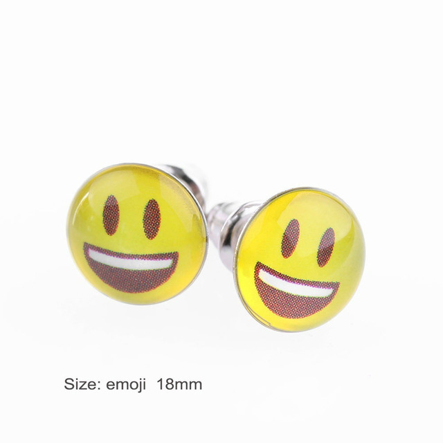 36 Pairs Set Fashion Cute Yellow Smiley Face Earrings Emoji Ear Stud Round Cabochon Emotions Jewelry