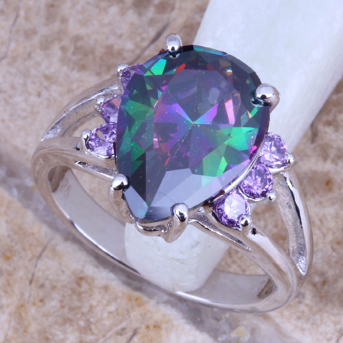 Excellent Rainbow Cubic Zirconia Silver Women's Ring Size 6 / 7 / 8 / 9 E770