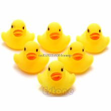 Lot 1/5/10/20Pcs Yellow Baby Children Bath Toys Cute Rubber Squeaky Duck Ducky(China)