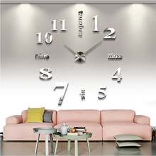 2015 hot sale home decoration  mirror clocks fashion personality diy Circular living room big wall clock watch free shipping