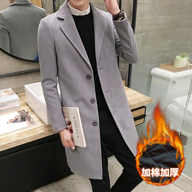 76800e1ca5 2019 New Winter Men s Fashion Fine Wool Warm Business Casual Long Trench  Coats   Men Thick Cotton Pure Wool Casual Coats Jackets