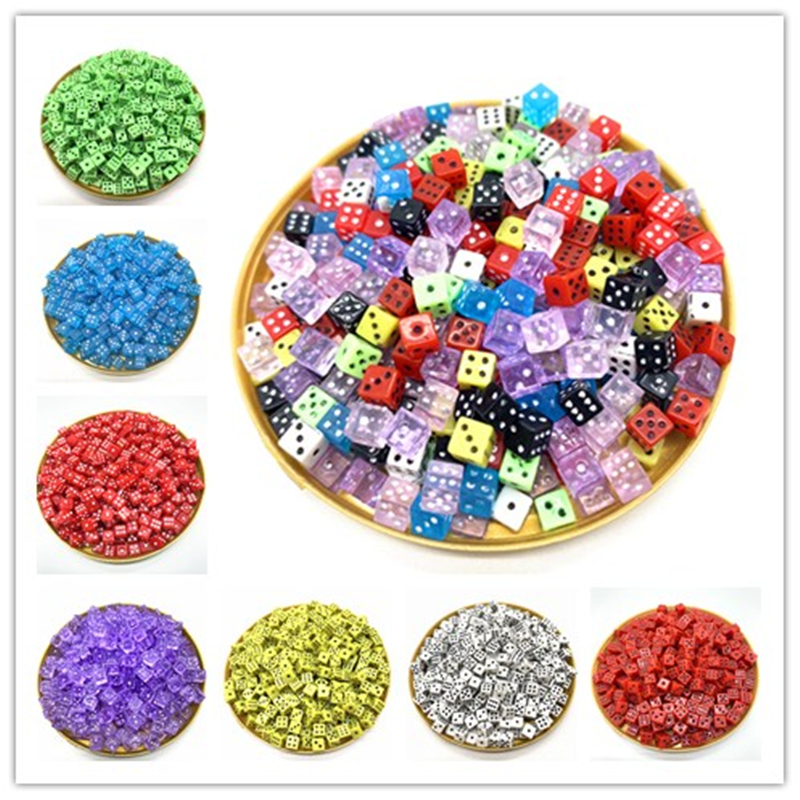 100PCS/Lot 6 Sided Portable Drinking Dice 4MM Acrylic Round Corner Board Game Dice Party Gambling Game Cubes Digital Dices(China)