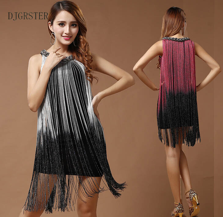 DJGRSTER Sexy Tassel Latin Dance Dress Women Girls Polyester Flamengo Salsa Samba Tango Ballroom Competition Costume Lady Dance
