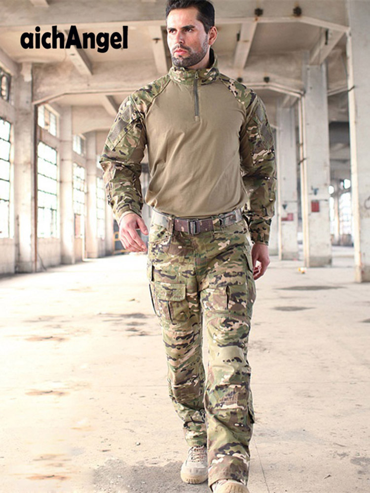 Military Uniforms Multicam Camouflage Tropic Frog Suits MTP Trainning <font><b>G3</b></font> Suits Men US Army Airsoft <font><b>Combat</b></font> Shirt + Cargo <font><b>Pants</b></font> image