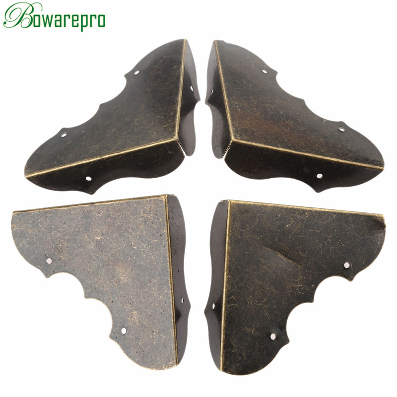 Bowarepro 4Pcs Fittings Antique Corner Bracket Jewelry Wooden Box Feet Leg Corner Decorative Protector Furniture Hardware+Nails