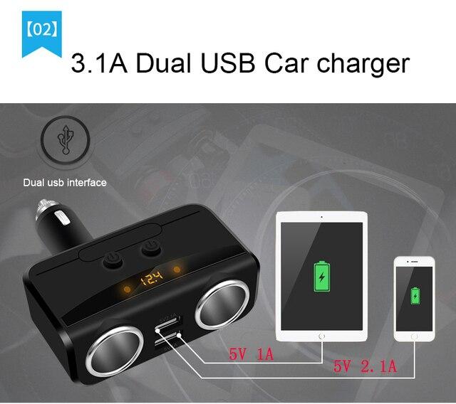 YANTU Car USB Cigarette Lighter Socket Splitter 12V-24V Power Adapter Max 5V 3.1A Dual USB Car Charger with Voltmeter LCD