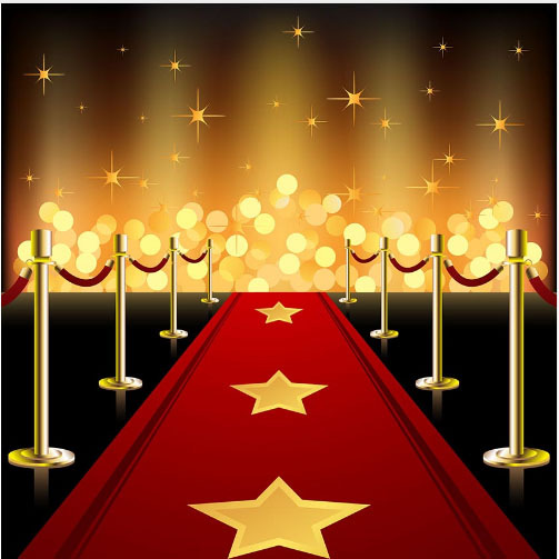 10x10ft Hollywood Red Carpet Entrance Gold Stars Spots