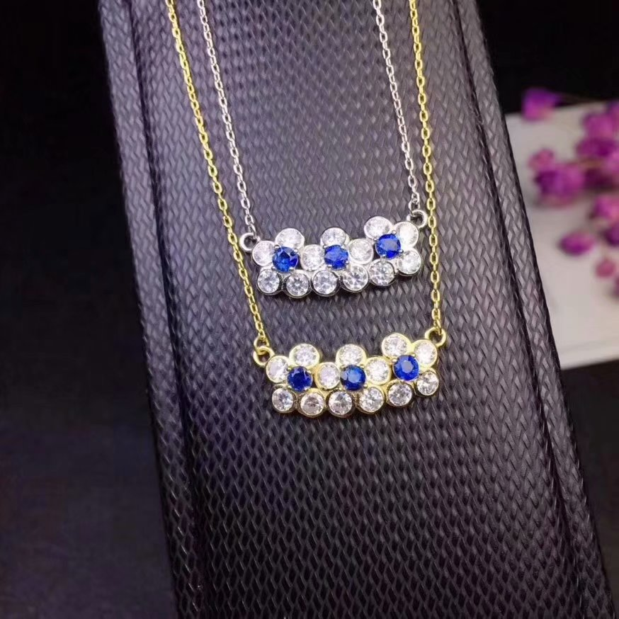 Natural sapphire necklace Round 3mm Sri Lankan Sapphire 925 sterling silver necklace Beautiful jewelry.