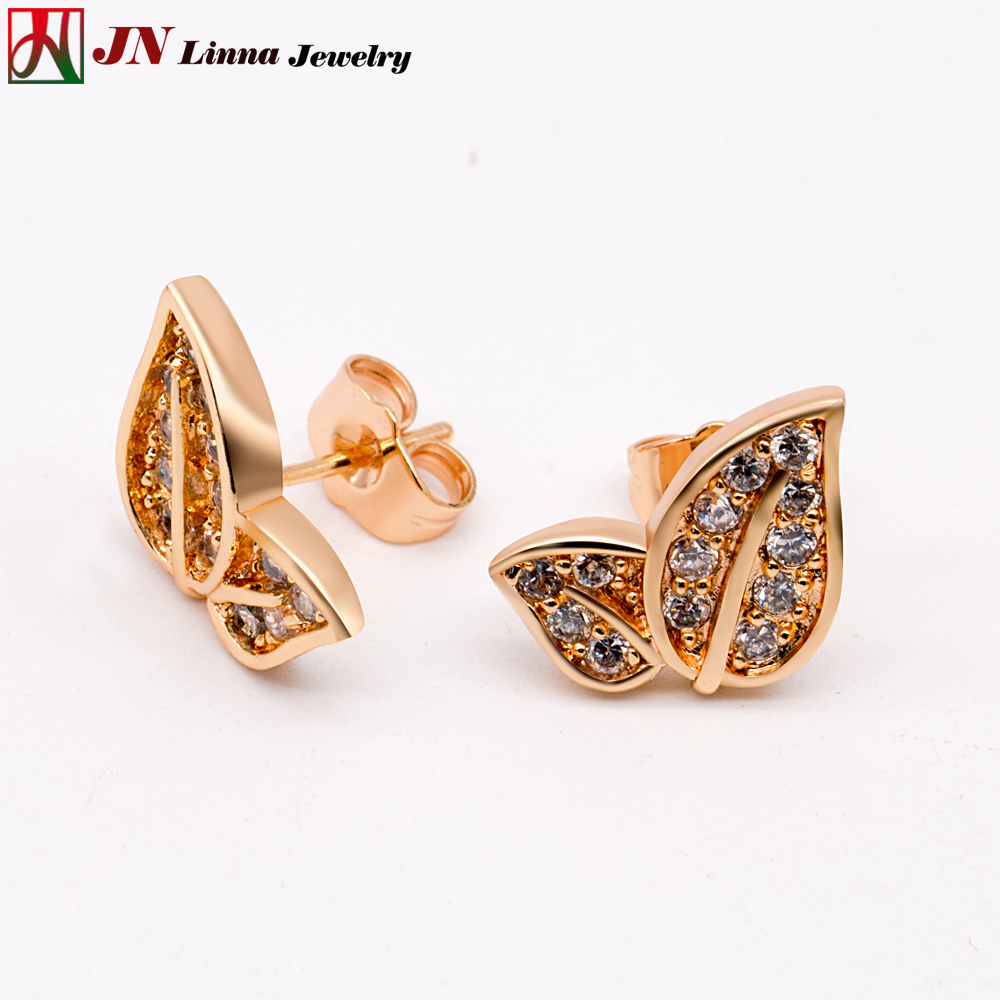 JN Classic small leaf shape Stud Earrings High quality copper ...