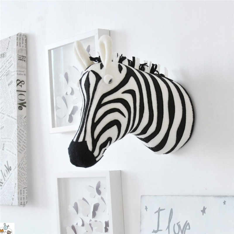 Animal de pelúcia macio cabeça parede pendurado animal zebra leão girafa pelúcia cabeça animal decoração da parede para crianças