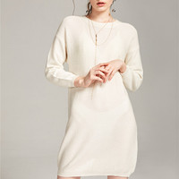 JECN Women Autumn O Neck Cashmere Blend Pullover Sweater Fashion Lady Long Sleeve Knitted Split Design