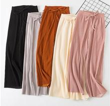 2019 Spring Summer New High Waist Pleated Chiffon Wide Leg Pants ElasticCasual Loose Pants Thin Ankle-length Trousers Women 2017 spring new cowboy belt pants loose legs were thin pants wide leg pants
