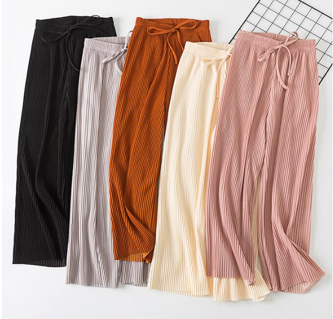 2019 Spring Summer New High Waist Pleated Chiffon Wide Leg Pants ElasticCasual Loose Pants Thin Ankle-length Trousers Women