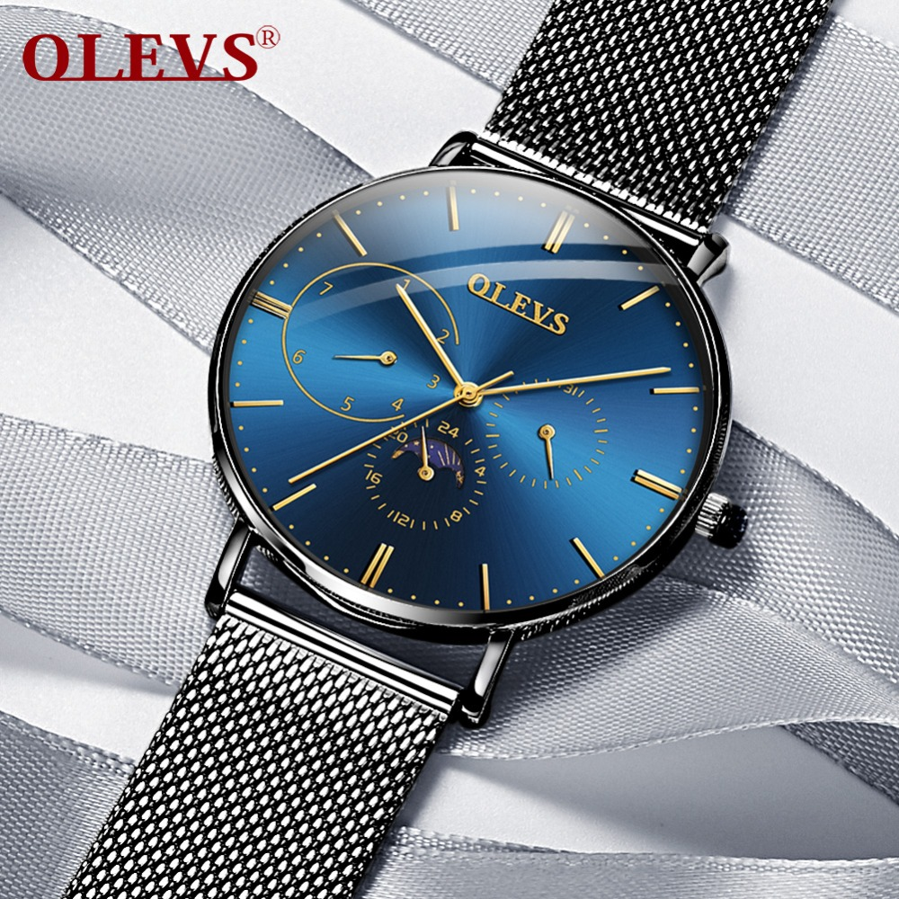 NEW OLEVS Mens Ultra thin Watch Fashion Top Brand Sports Watches High Quality Moon Phase Stainless Steel Watch Relogio Masculino